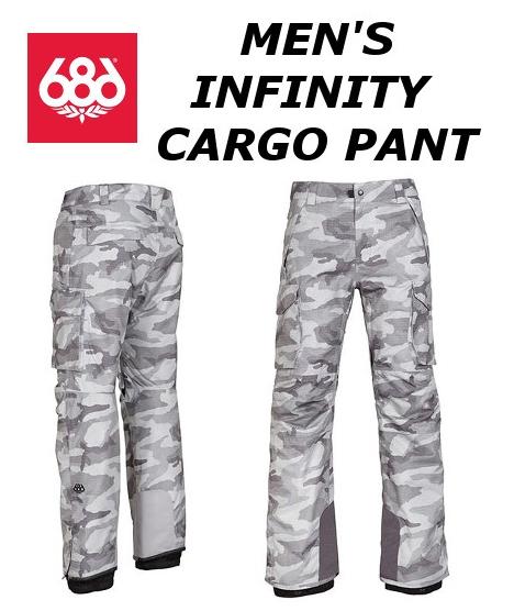 17-18新作 686 MEN'S INFINITY INSHLATED CARGO PANT SIXEIGHTSIX シックスエイトシックス メンズ カーゴパンツ スノーボードウェア カラー/GREY CAMO PRINT L7W210