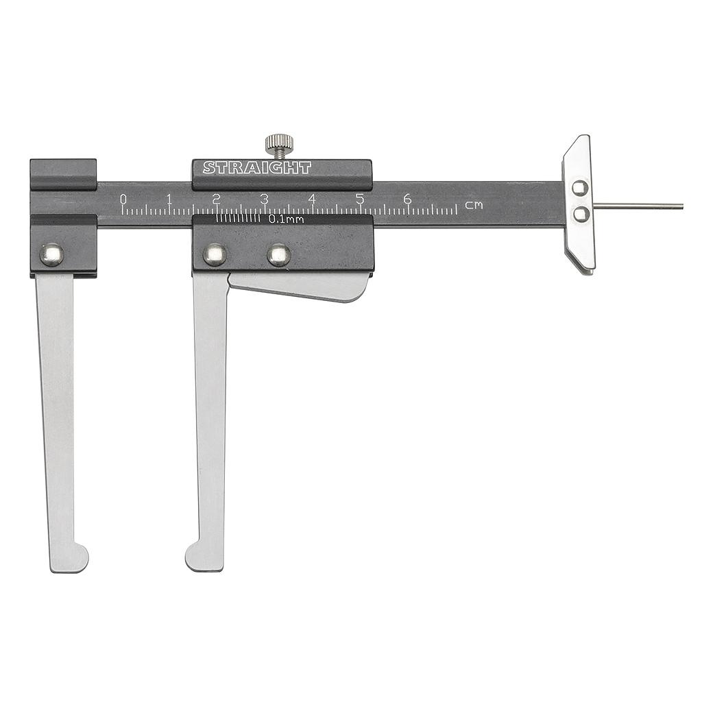 ブレーキディスクの厚みとタイヤ溝の深さの両方を測定 ブレーキディスク&タイヤデプスゲージ 測定範囲:0~60(mm) STRAIGHT/19-0727 (STRAIGHT/ストレート)