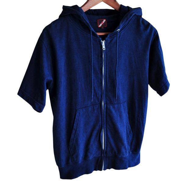 半袖 ジップパーカー スウェット メンズ 藍染め コットン パーカー 濃紺 染物 半袖パーカー アメカジ
