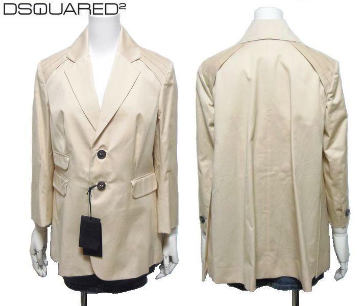【新品売尽し】 ディースクエアード ベージュ 42サイズ Aライン DSQUARED スプリングジャケット(スプリングコート)
