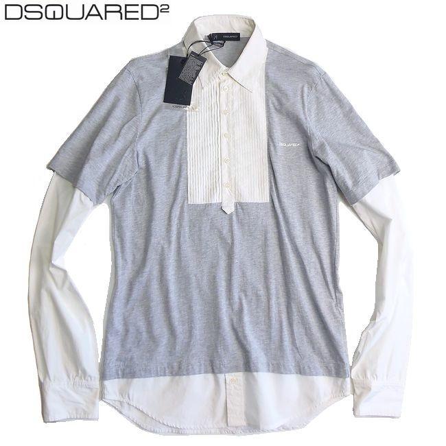 DSQUARED2 ディースクエアード プリーツブラウス×Tシャツ レイヤードカットソー Sサイズ 【新品】【YDKG-tk】【コンビニ受取対応商品】【ラッキーシール対応】