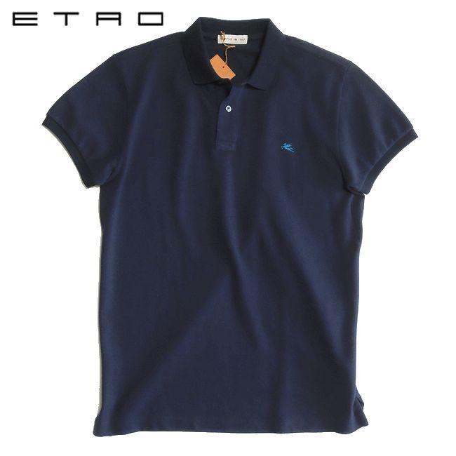 ETRO エトロ コットンピケ ポロシャツ ネイビー Sサイズ【YDKG-tk】【smtb-TK】 ブランド メンズ 春夏 クールビズ