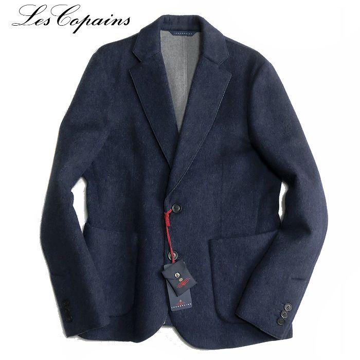 Les copains レ コパン 伊製 アンゴラ混 フラノジャケット ブルーグレー 【新品】【YDKG-tk】