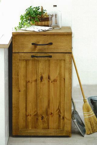 【引き出し付 ダストボックス】ZAKKA BOOK・ごみ箱・カントリー家具・ナチュラル手作り・ゴミ箱・キャスター付ゴミ箱入れ