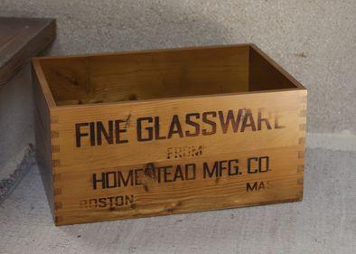【 GLASSWARE BOX 】木箱・グラスウエアボックス・ナチュラル木箱・HOMESTEDかわいい・ボックス・ボックスト