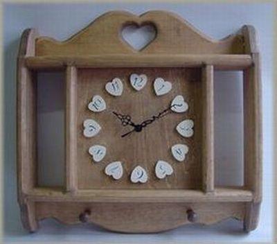 【ウォールクロック アイボリー】カントリー木工・カントリー雑貨・カントリー家具アメリカン・手作り・木工小物プレゼント・ブライダル・新築祝いギフト・時計