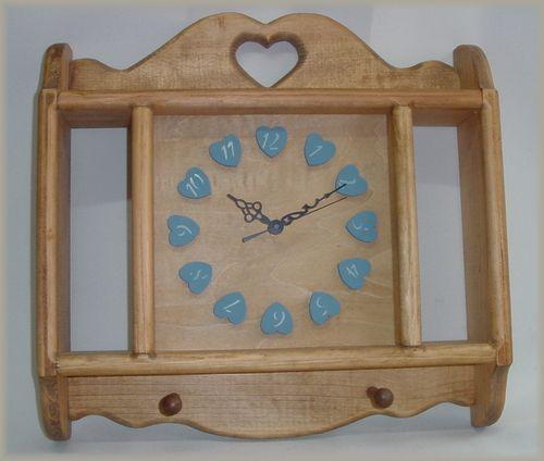 【ウォールクロック ブルー】カントリー木工・カントリー雑貨・カントリー家具アメリカン・手作り・木工小物プレゼント・ブライダル・新築祝いギフト・時計