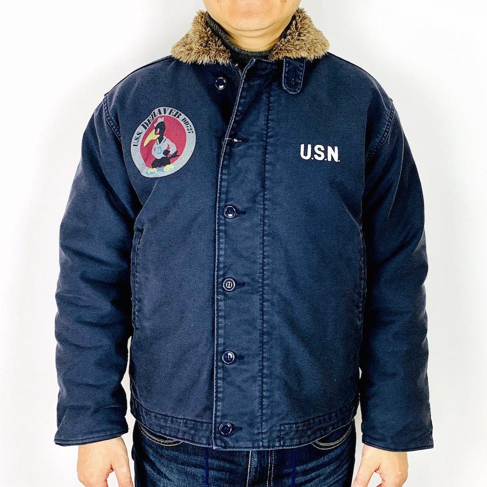 【30%OFFクーポン対象】HOUSTON ヒューストン 日本製 米海軍 ユーズド加工 U.S.S. DE HAVEN N-1 デッキジャケット 50727 NAVY ネイビー 40サイズ