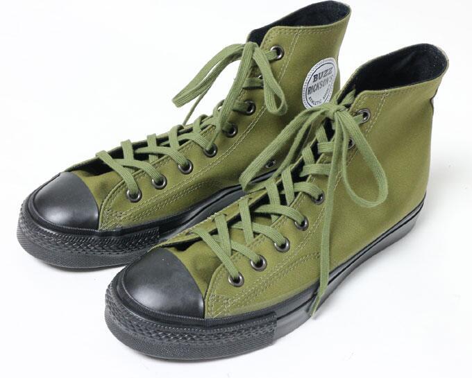 BUZZ RICKSON'S 正規品 【20%OFFセール 2月2日まで】BUZZ RICKSON'S バズリクソンズ 日本製 VENTILE FABRIC ベンタイル ファブリック キャンバス バスケットボール ハイカット スニーカー シューズ OLIVE オリーブ BR02577 Size8 buzz rickson's 靴