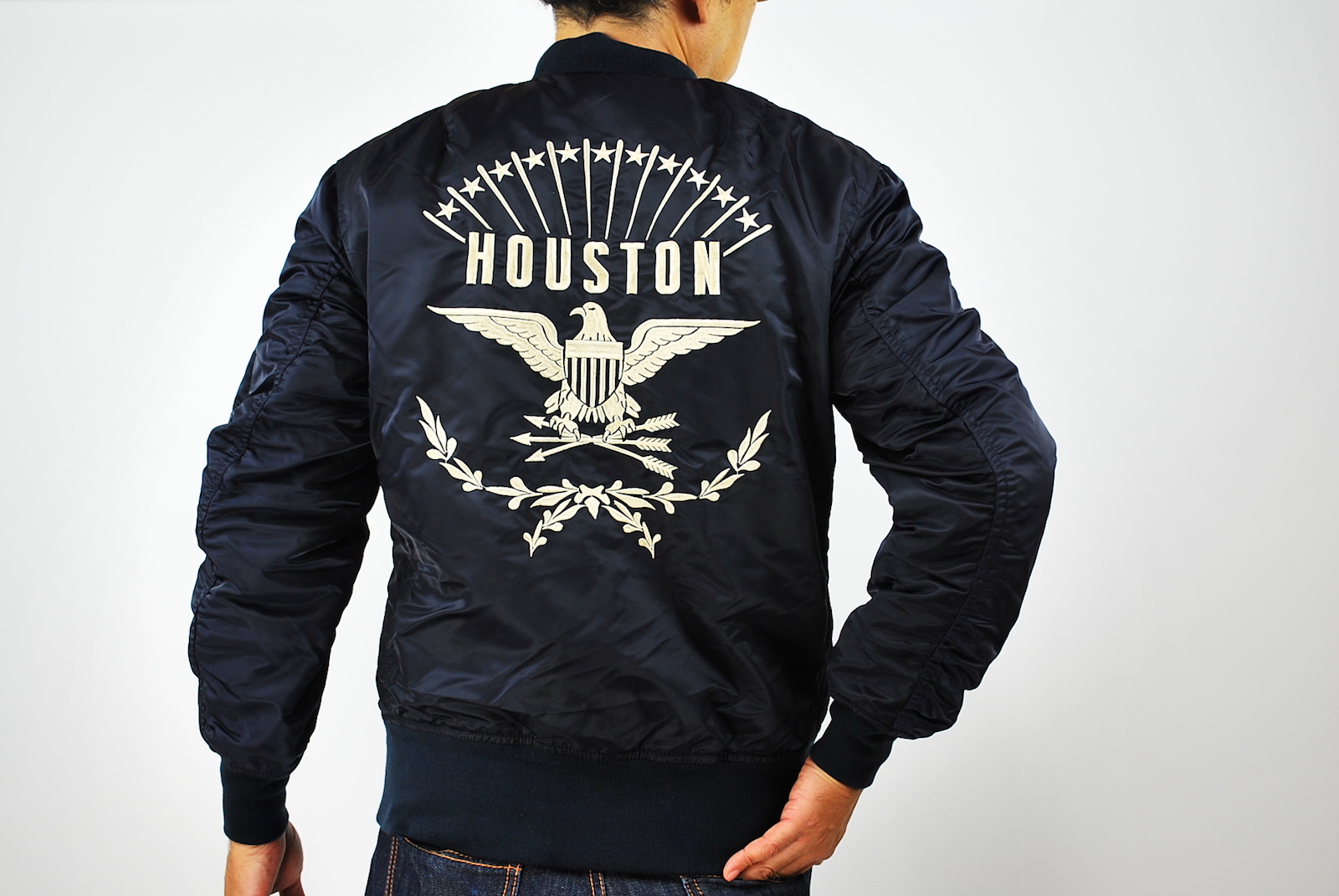 HOUSTON MA 1 刺繍ロゴ FLIGHT JACKET ミリタリー フライトジャケット 50565 NAVY ネイビー L houston ma 1 ミリタリー ジャケット コートvN0wOnm8