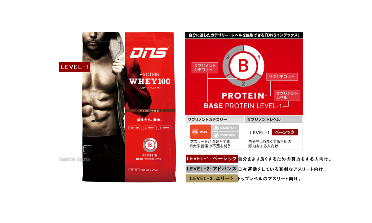 DNS ホエイプロテイン 3kg 100/3000g DNS059 設備・備品 野球部 野球用品 スワロースポーツ