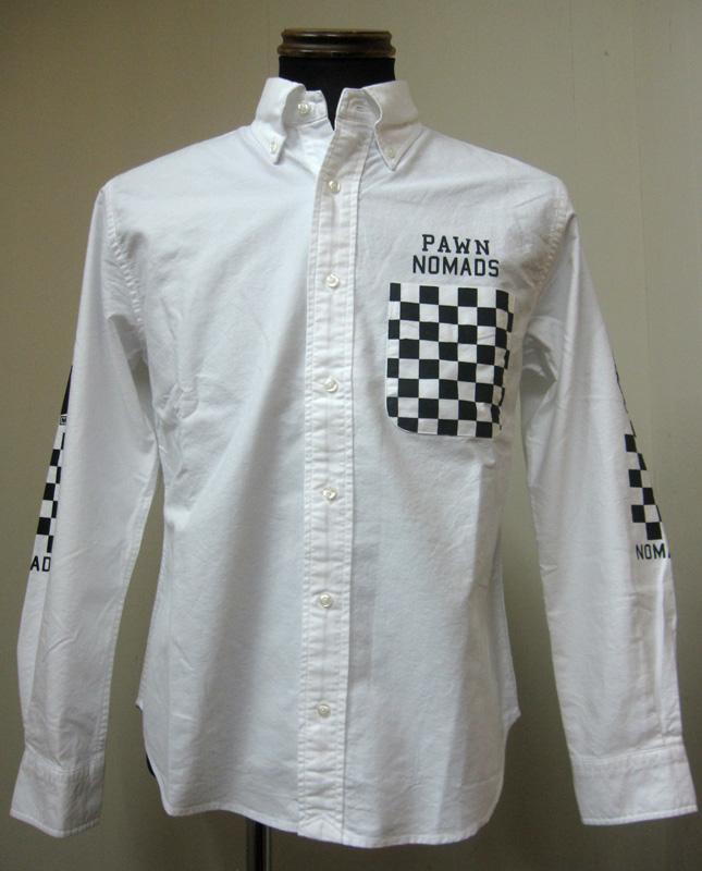 PAWN(パウン)CHECKERED SHIRTオックスフォードシャツ-WHITE【送料無料】