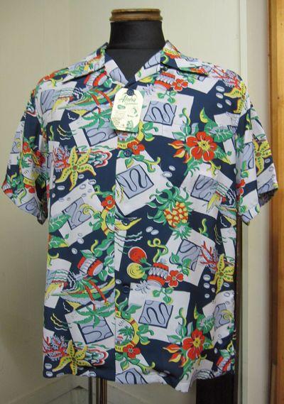サンサーフ(SUNSURF)『ALOHA HAWAII』長袖レーヨン・アロハシャツ半袖ハワイアンシャツSS37469-BLU