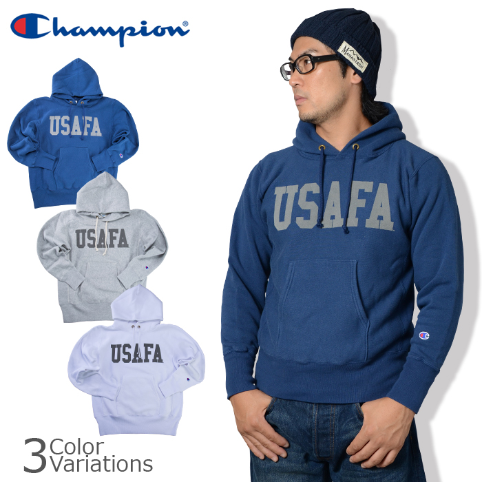Champion(チャンピオン) USAFA リバースウィーブ(青タグ)プルオーバースウェットパーカー(11.5oz) 17FW C3-G125