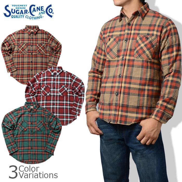 SUGAR CANE & Co.(シュガーケーン) TWILL CHECK L/S WORK SHIRT ツイルチェック 長袖 ワークシャツ  SC26719