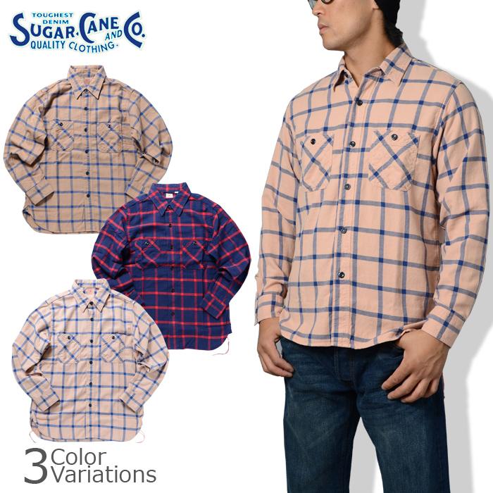 SUGAR CANE Amp Sugar Cane Co SLUB TWILL WINDOWPANE WORK SHIRT Slabtwilwindpen Work Shirt SC26735