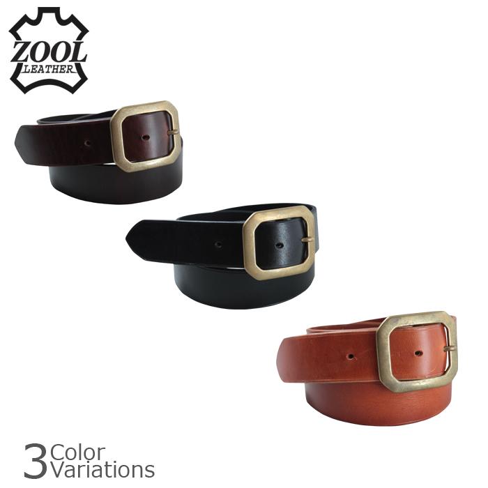 ZOOL LEATHER(ズールレザー) Standard Belt (Brass) スタンダードベルト ブラスバックル ZL std belt