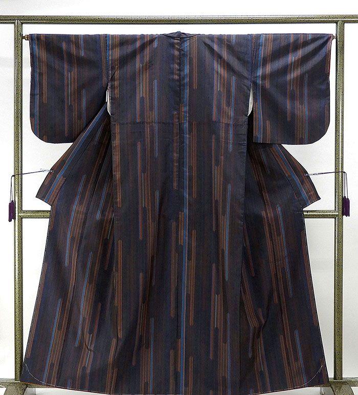 紬 未着用美品 正絹 幾何模様 紬 未使用 新古品 着物