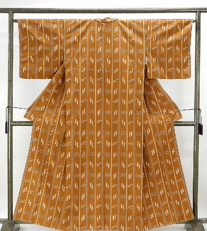 紬 未着用美品 正絹 縦縞燕絣模様 紬 未使用 新古品 着物