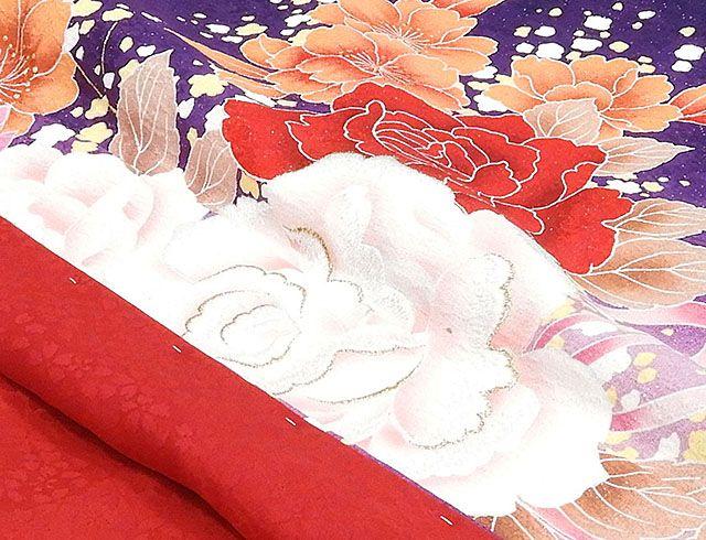 \30%OFFクーポン配布中/(振袖)新品仕立済 正絹 薔薇牡丹桜模様 振袖(新品)(仕立て上がり)(着物)