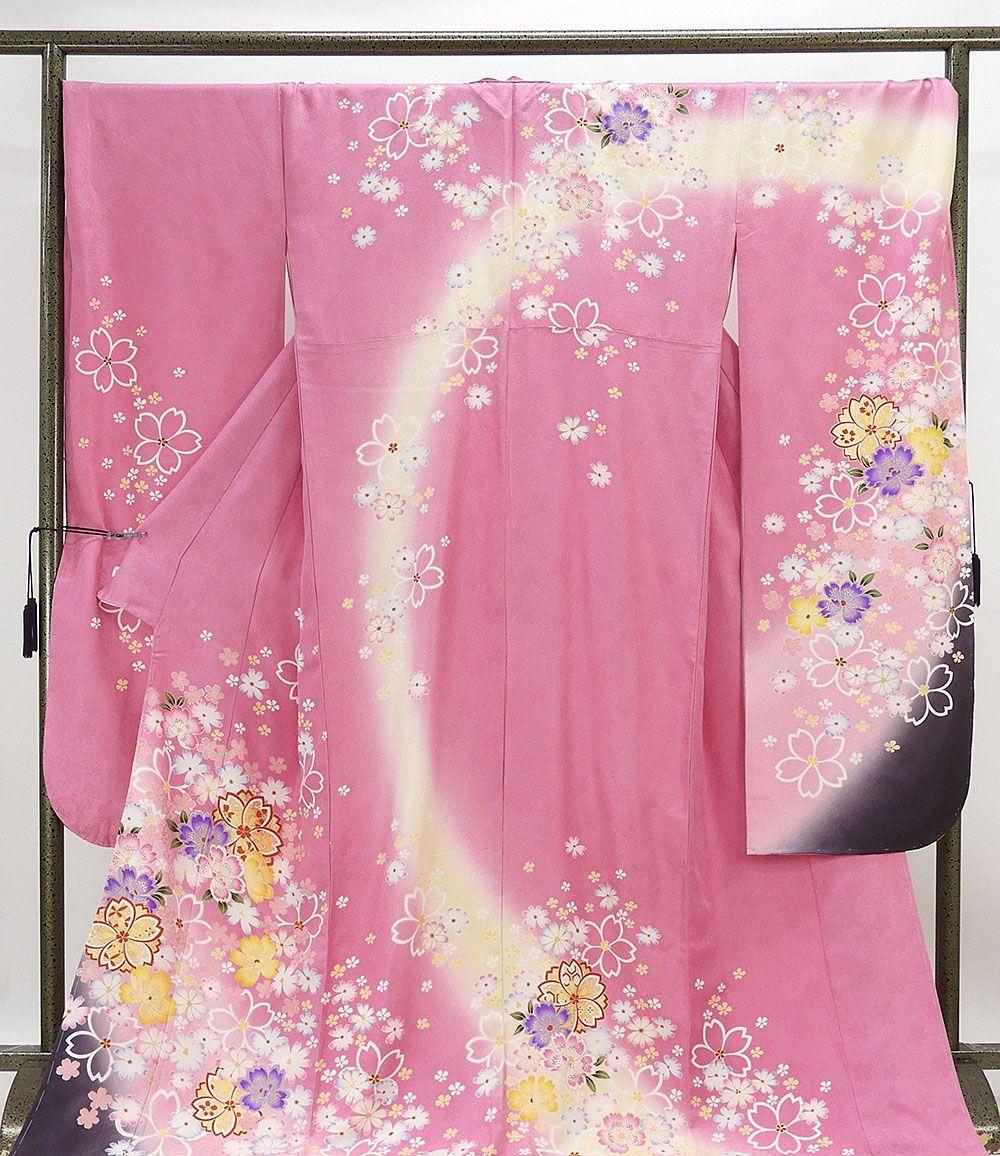 振袖 新品仕立済 正絹 桜模様 振袖 トールサイズ 小難あり 新品 仕立て上がり 着物