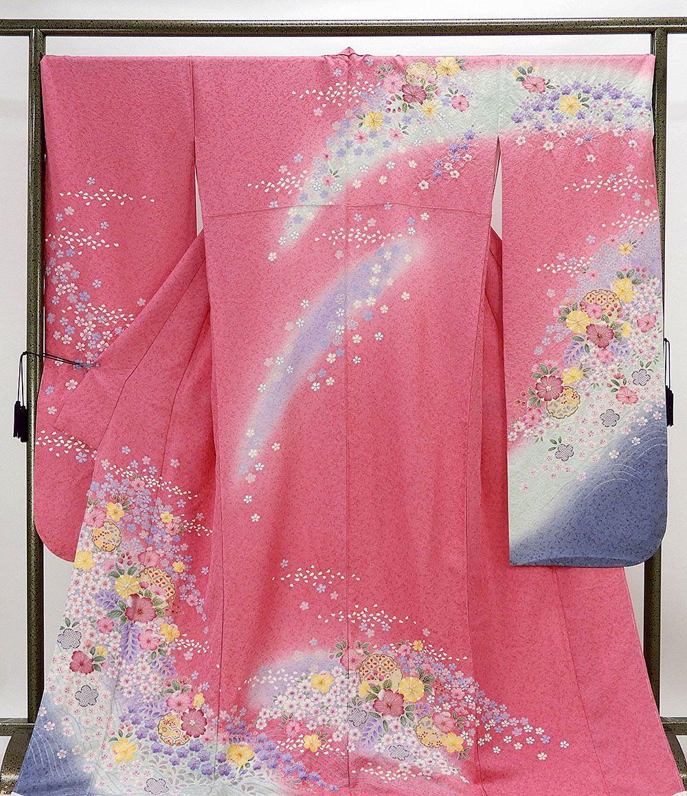 振袖 新品仕立済 正絹 雪輪桜辻が花模様 振袖 トールサイズ 新品 仕立て上がり 着物