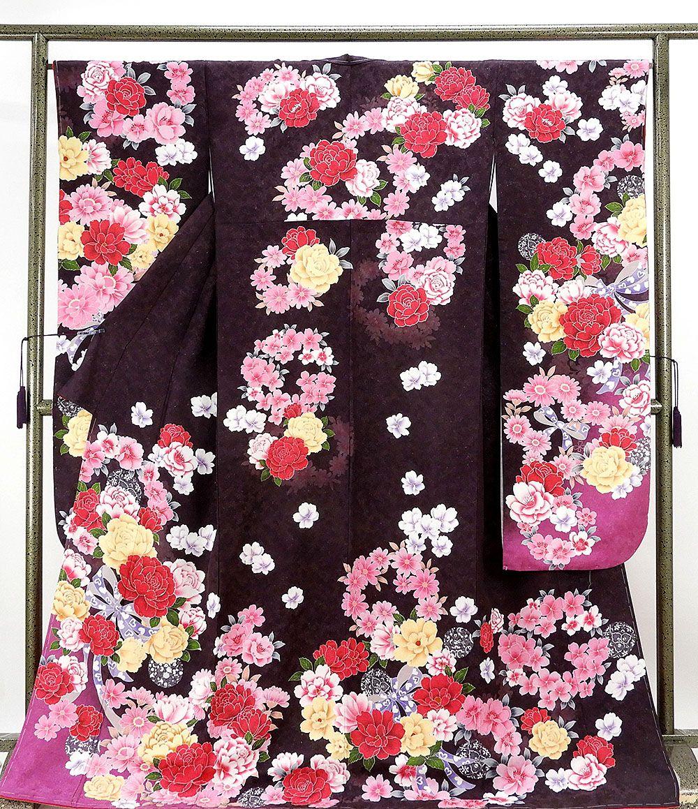 振袖 新品仕立済 正絹 薔薇リボン模様 振袖 新品 仕立て上がり 着物