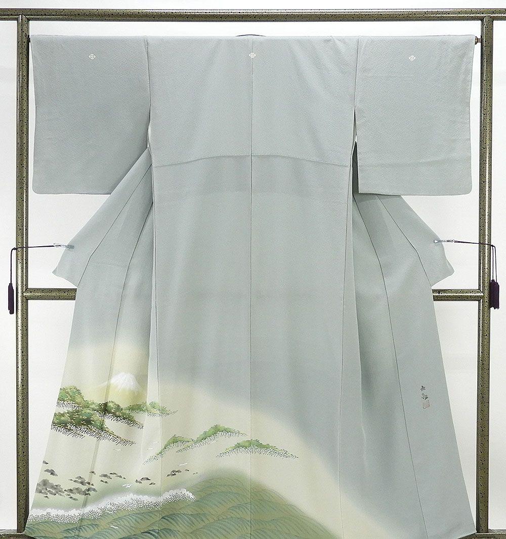 色留袖 正絹 じゅらく謹製 横山大観 色留袖 三つ紋 リサイクル 着物