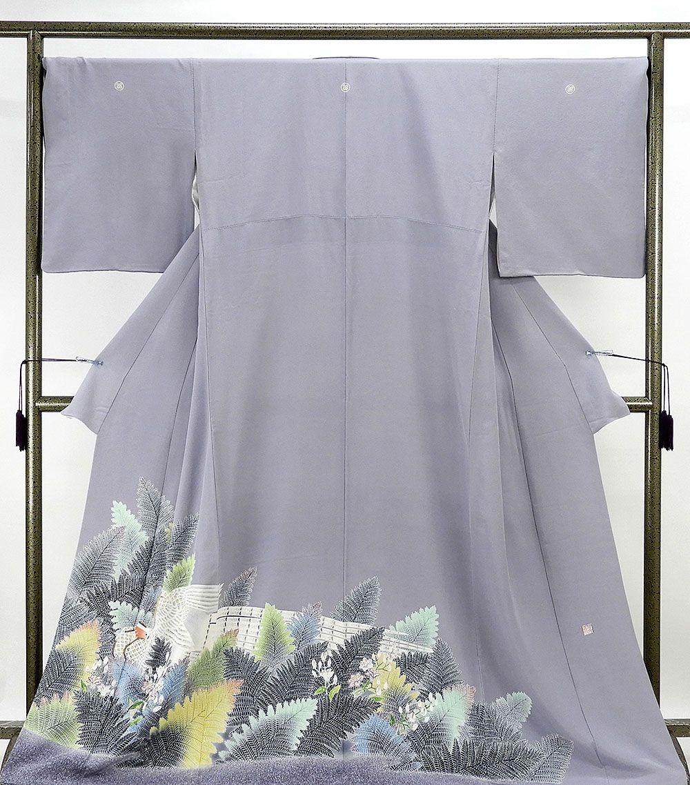 色留袖 正絹 人間国宝 羽田登喜男作 色留袖 三つ紋 リサイクル 着物