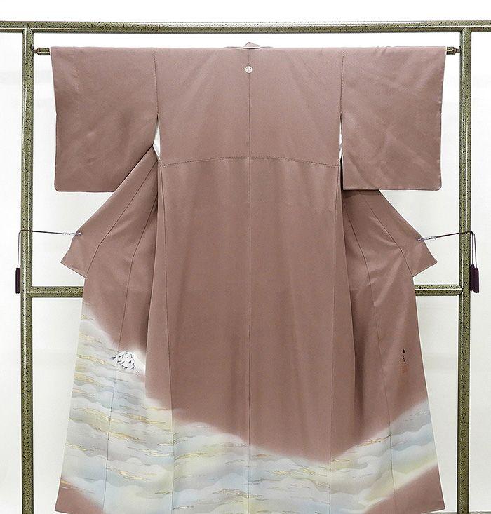 色留袖 正絹 じゅらく謹製 横山大観 身丈154cm 上等 リサイクル 裄丈62.5cm 美品 着物 今ダケ送料無料 三つ紋