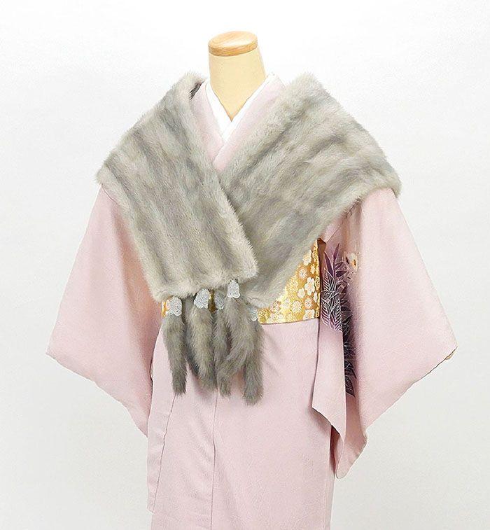 ショールミンク 毛皮 ストール リアルファー ショール SAGA MINK しっぽ付き グレー 着物にも洋服にも リサイクル