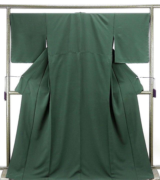 単衣 色無地新品仕立済 正絹 単衣 ビリヤードグリーン色 色無地 小難あり 新品 仕立て上がり 着物