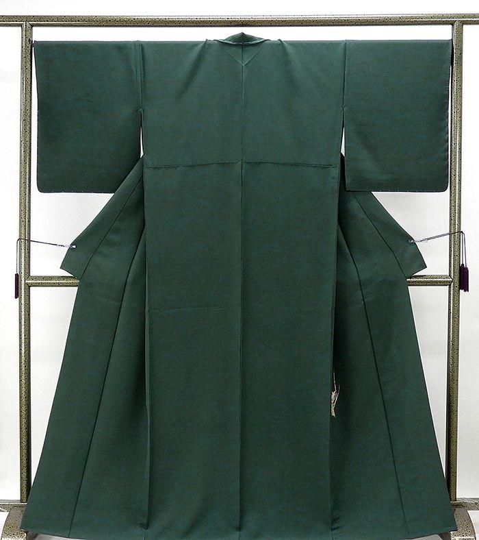 単衣 色無地 新品仕立済 正絹 単衣 麗装優美 深緑色 色無地 新品 仕立て上がり 着物