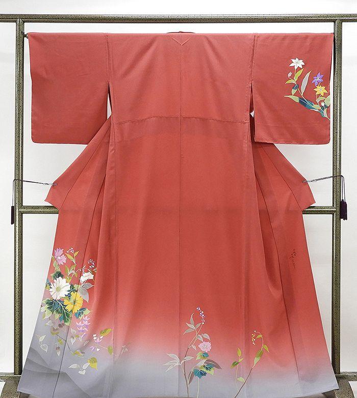 単衣 訪問着 新品仕立済 正絹 単衣 染色作家 二代目清次郎作 霞模様 訪問着 裄丈66.5cm 新品 仕立て上がり 着物