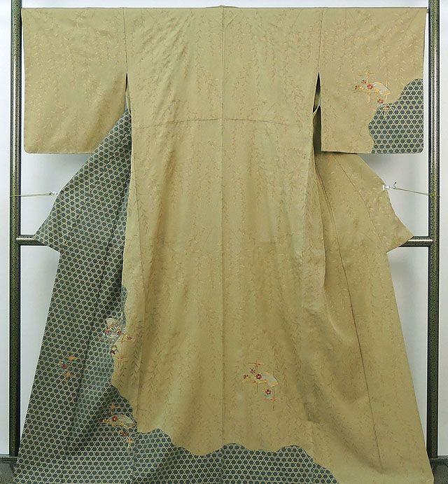 単衣 訪問着 新品仕立済 正絹 単衣 刺繍四季花扇模様 訪問着 新品 仕立て上がり 着物