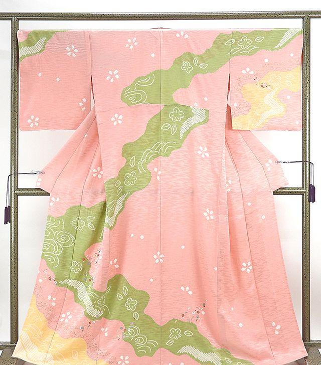 単衣 訪問着 新品仕立済 正絹 単衣 流水四季花模様 訪問着 小難あり 新品 仕立て上がり 着物