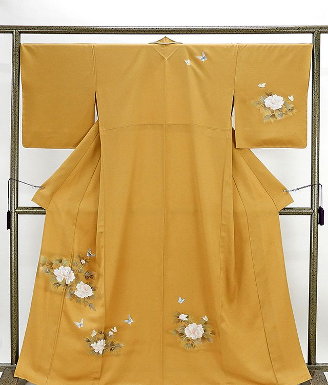 単衣 訪問着 新品仕立済 正絹 単衣 蝶々牡丹模様 訪問着 新品 仕立て上がり 着物