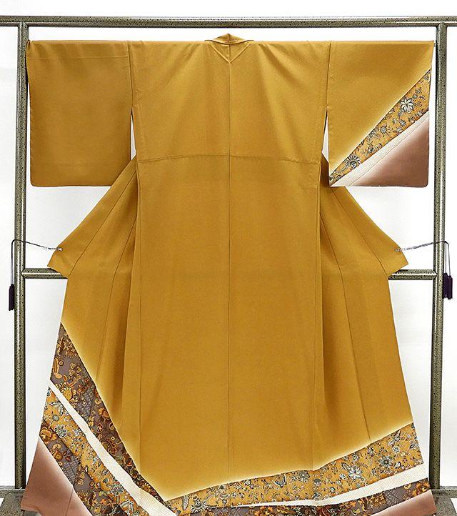 単衣 訪問着 新品仕立済 正絹 単衣 蝶々唐花模様 訪問着 小難あり 新品 仕立て上がり 着物