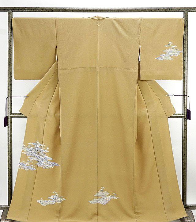 単衣 訪問着 新品仕立済 正絹 単衣 風景南蛮船模様 訪問着 新品 仕立て上がり 未使用 着物