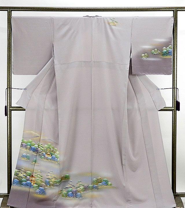 単衣 訪問着 新品仕立済 正絹 単衣 京洛風景模様 訪問着 新品 仕立て上がり 未使用 着物