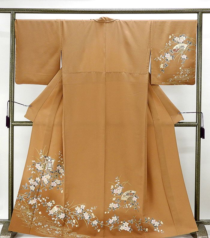 単衣 訪問着 新品仕立済 正絹 単衣 扇御所車花模様 訪問着 新品 仕立て上がり 着物