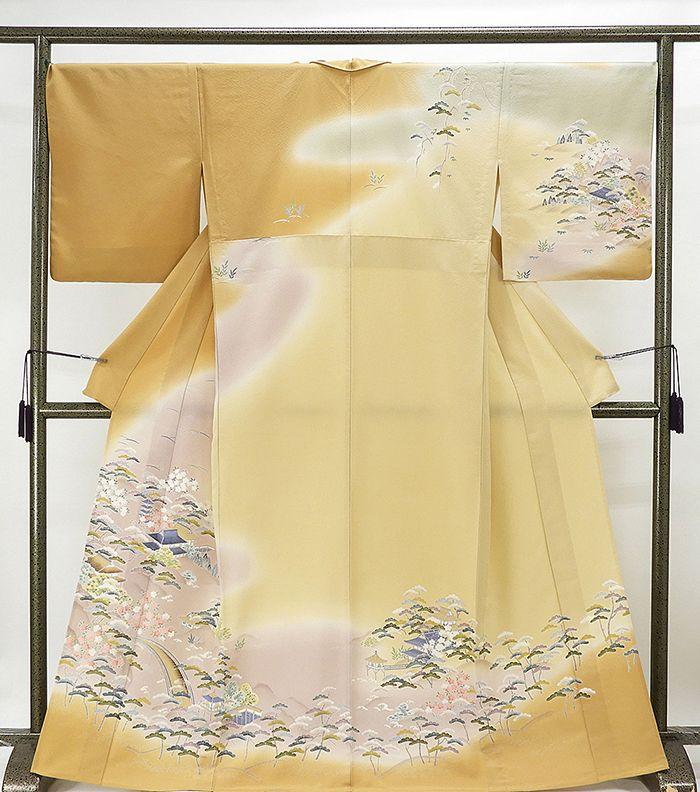 単衣 訪問着 新品仕立済 正絹 単衣 家屋風景模様 訪問着 小難あり 新品 仕立て上がり 着物