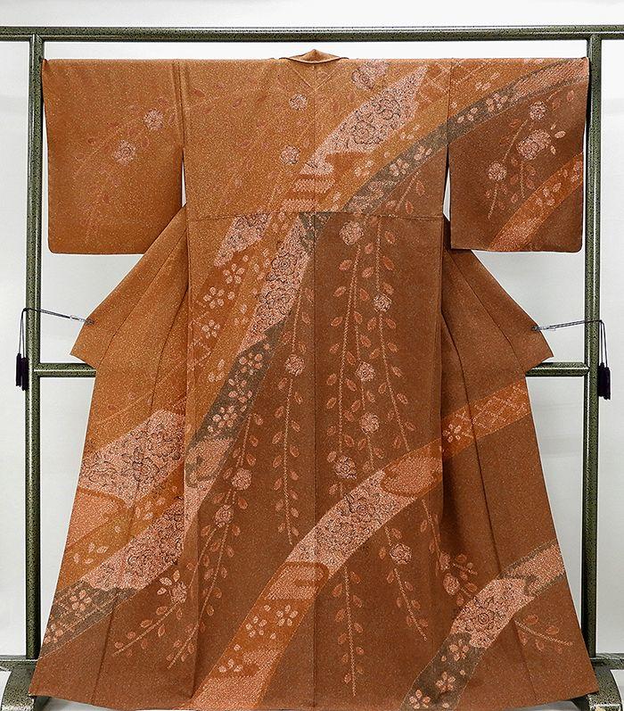 単衣 訪問着 新品仕立済 正絹 単衣 辻が花模様 訪問着 新品 仕立て上がり 着物