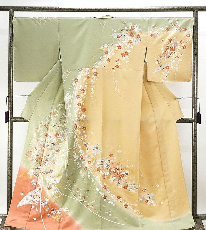 単衣 訪問着 新品仕立済 正絹 単衣 枝垂れ桜御所車模様 訪問着 新品 仕立て上がり 着物