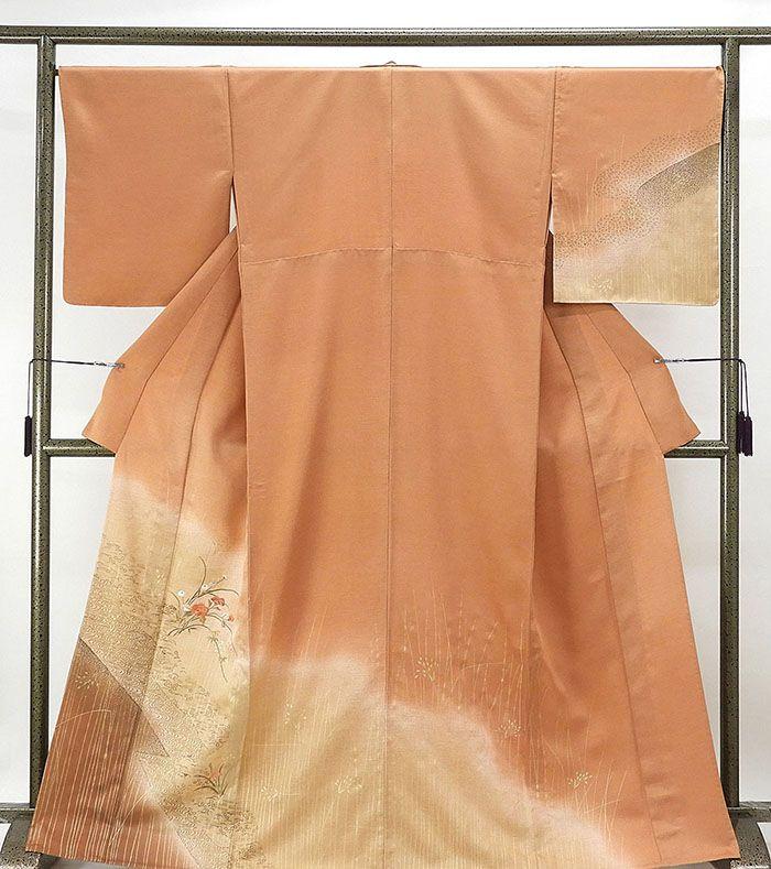 単衣 訪問着 新品仕立済 正絹 単衣 流水花模様 訪問着 小難あり 新品 仕立て上がり 着物