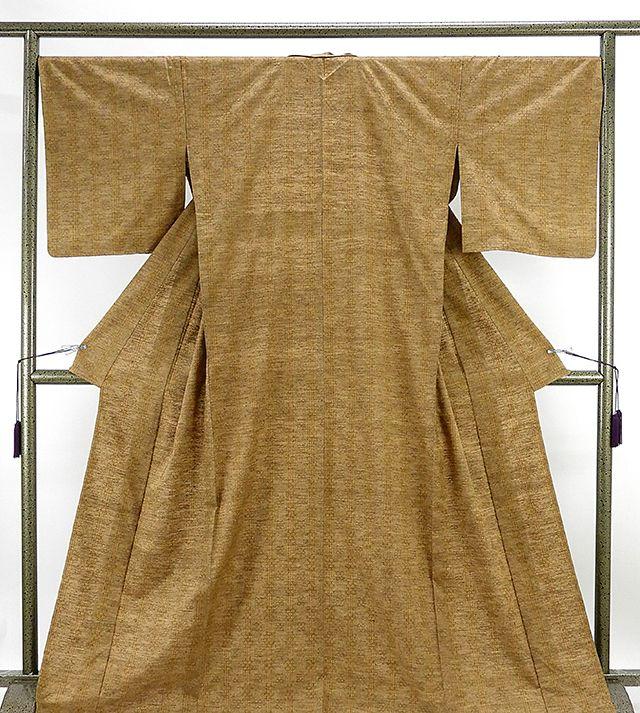単衣 紬 新品仕立済 正絹 単衣 琉里縞 花織文様 紬 新品 仕立て上がり 着物