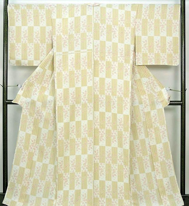 単衣 小紋 新品仕立済 正絹 単衣 格子桜模様 小紋 新品 仕立て上がり 着物