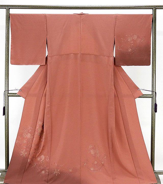 単衣 訪問着 新品仕立済 正絹 単衣 刺繍花模様 訪問着 新品 仕立て上がり 着物
