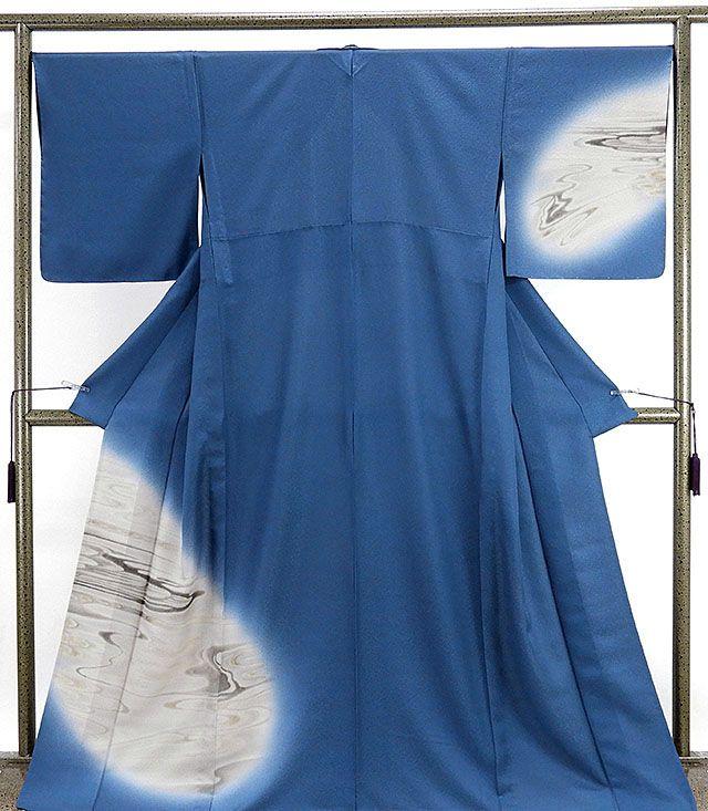 単衣 訪問着 新品仕立済 正絹 単衣 霞流水模様 訪問着 新品 仕立て上がり 着物