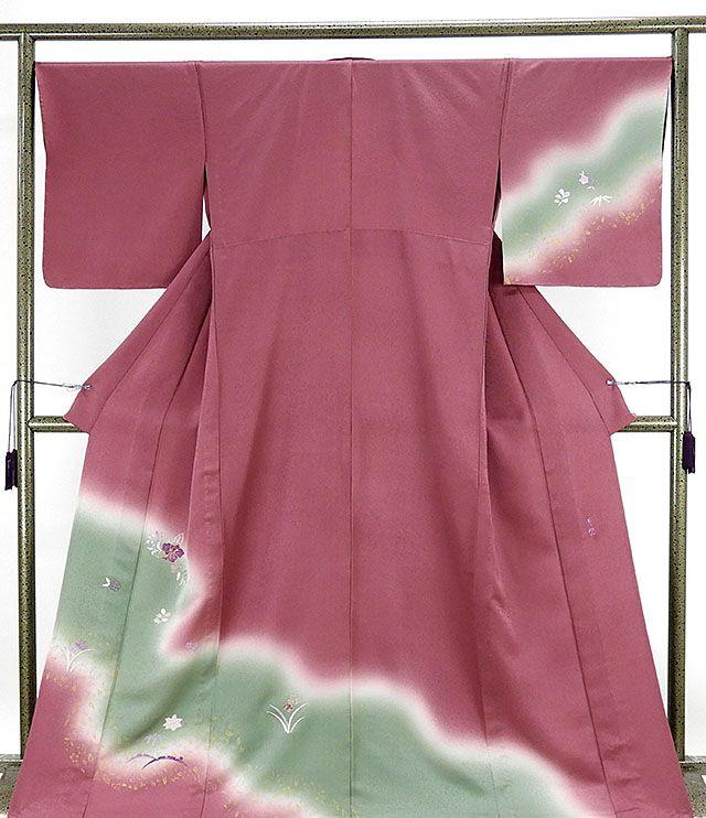 単衣 訪問着 新品仕立済 正絹 単衣 貝紫友禅 四季花辻が花模様 訪問着 新品 仕立て上がり 着物